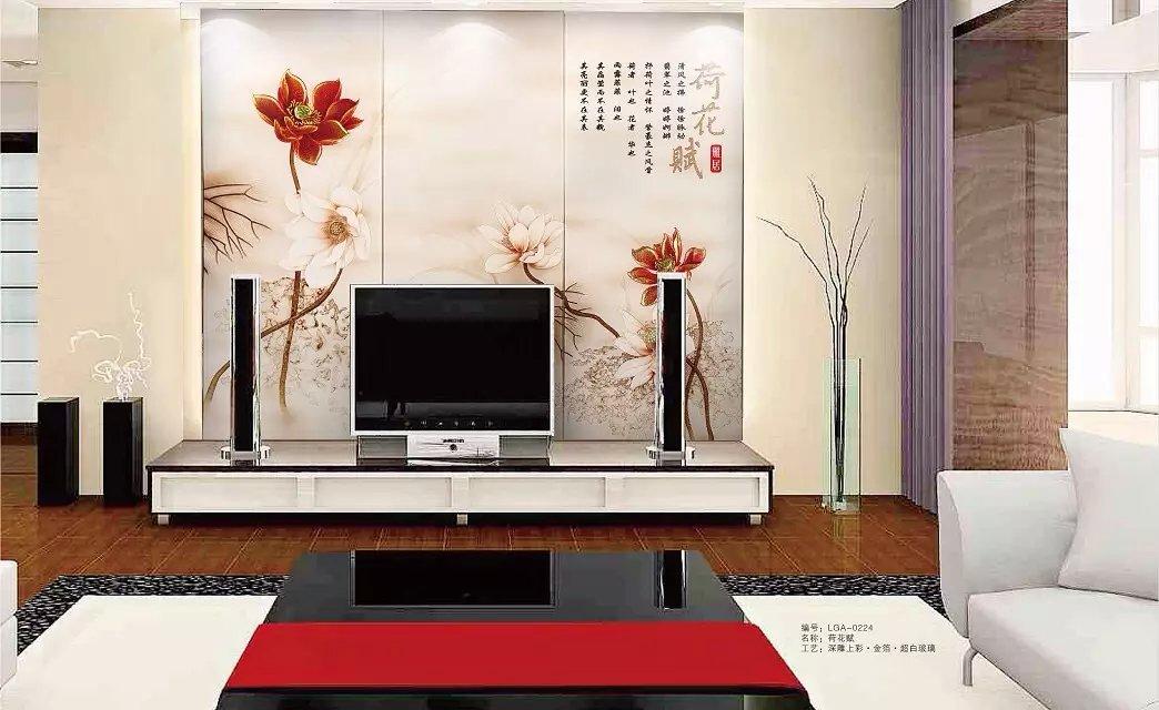 客厅仿玉石瓷砖背景墙印花机彩雕打印上色工艺